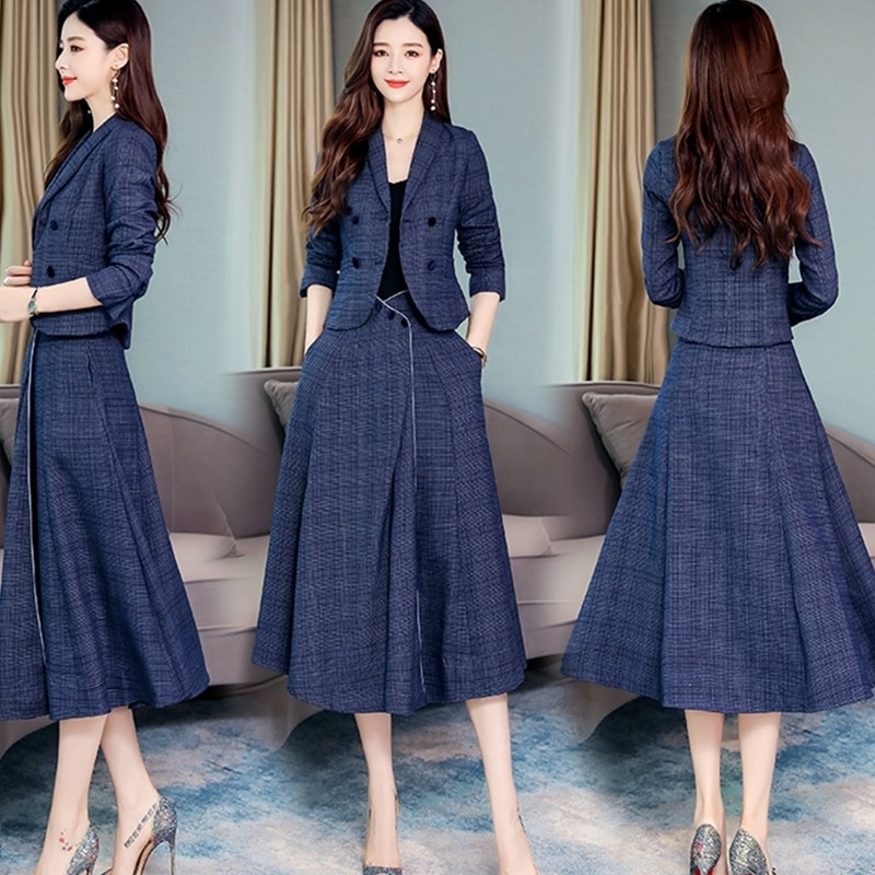 2019 Autumn Blue Plaid Two Piece Sets Outfits Women Plus Size Long Sleeve Suit And Long Skirt Elegant Office Fashion Suits Sets