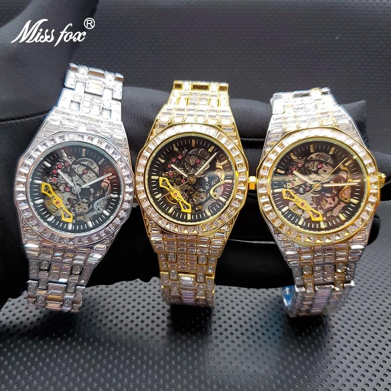 Relogio Masculino de Luxo MISSFOX Ice Out Baguette Stones Automatic Men's Mechanic Watches Top Brand Orologio Automatico Uomo