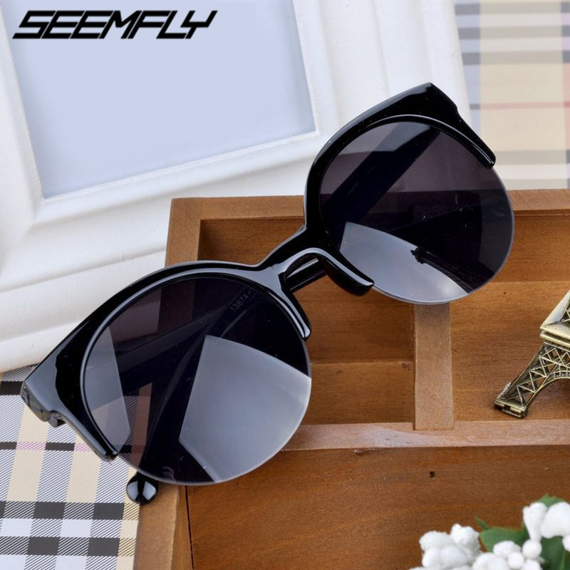 Seemfly Fashion Retro Round Semi-Rim Sunglasses Women Cat Eye Sun Glasses Female Goggle Driver Eyegl