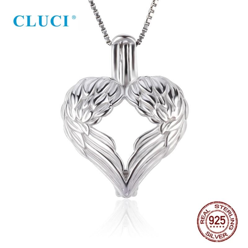 CLUCI 3pcs Silver 925 Angel Wings Heart Shaped Charm Pendant Women Jewelry 925 Sterling Silver Love Pearl Pendant Locket SC232SB