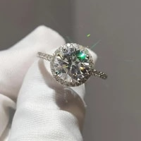 9k white gold moissanite ring luxurious engagement gift anniversary ring 2ct excellent cut moissanite