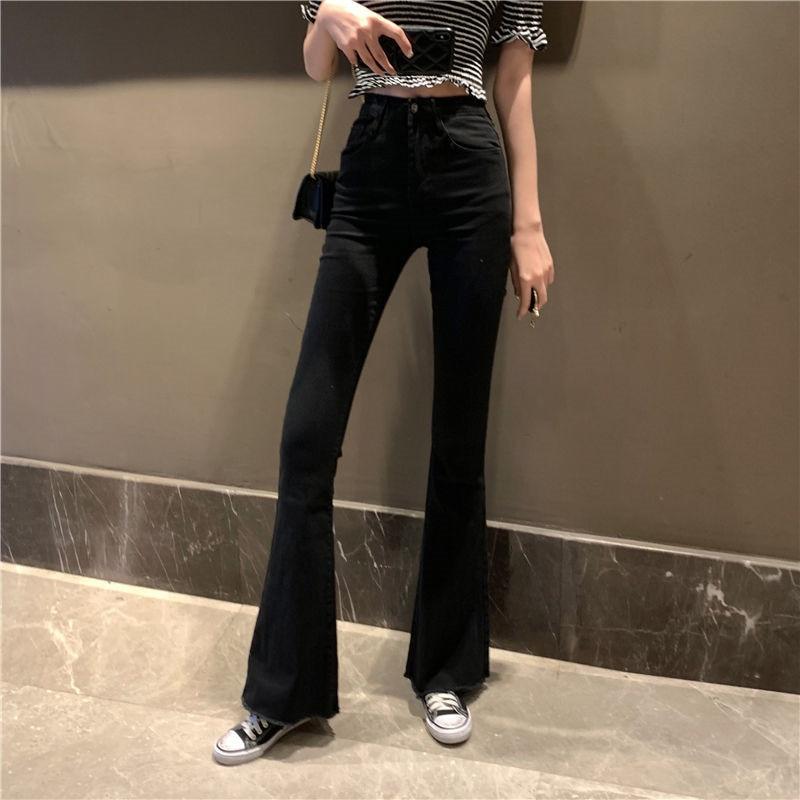 Мама черный Высокая Талия расклешенные джинсы-бойфренды клеш джинсовые узкие женские джинсы женские широкие брюки Винтаж джинсы размера п...