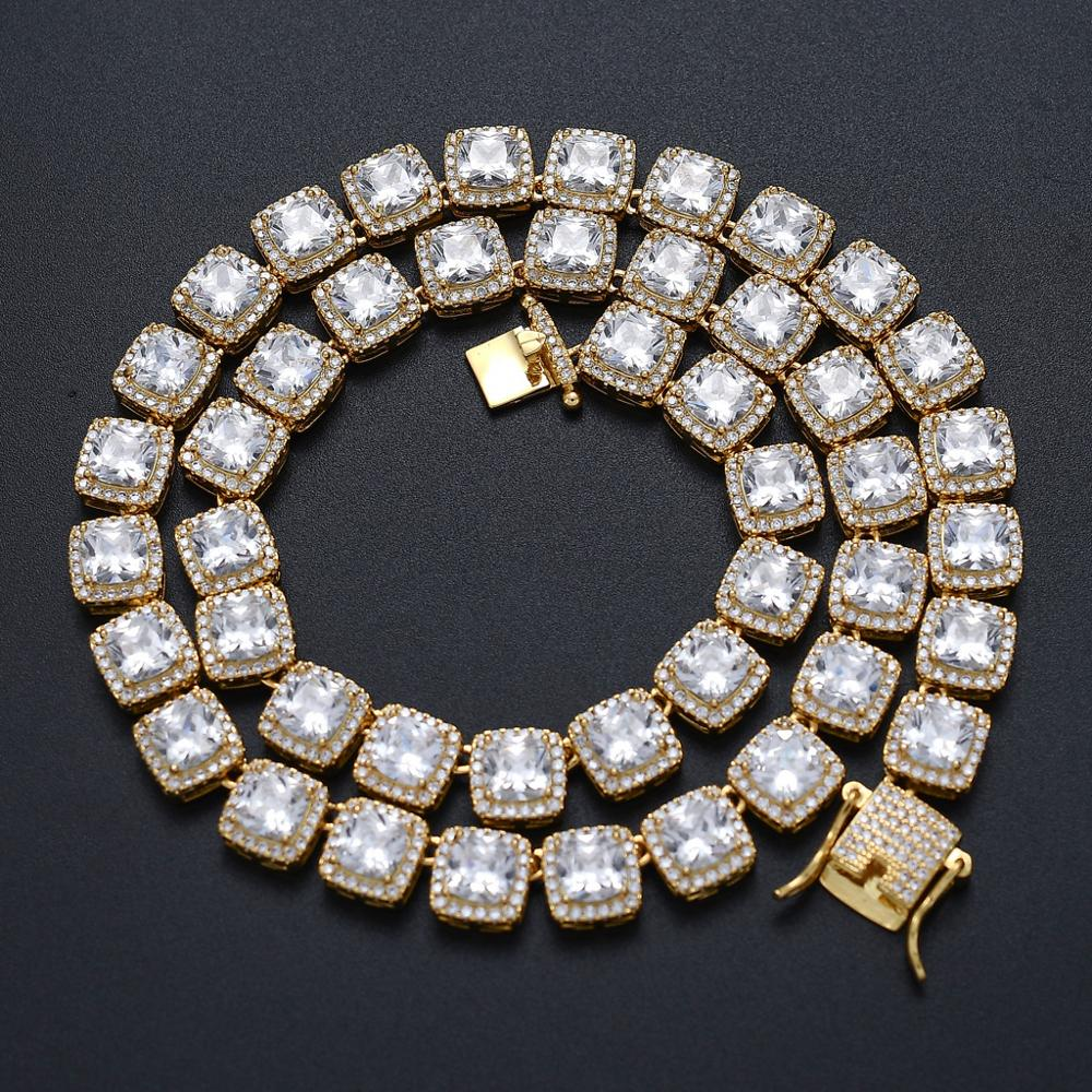 1 New Bling Iced Out Cubic Zirconia Bracelet Necklace Geometric Square  CZ Stone Tennis Chain for Men Women Hip Hop  Gift