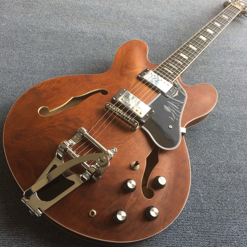 Jazz Hollow Body Electric Guitar,Ebony fingerboard,Matt finish 2F holes, tone-pro bridge electric guitar, Free shipping