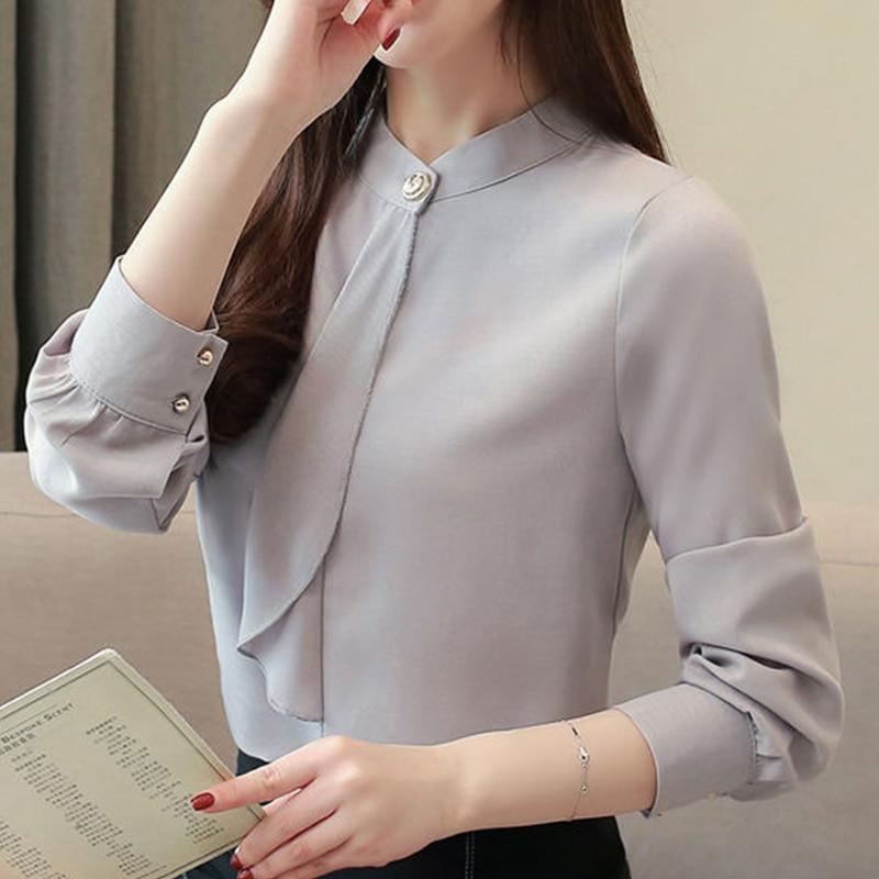 2020 New Korean Spring Blouse Shirts Female Long Sleeve Chiffon Women Tops and Blouses Female Elegant Solid Female Blusas S-3XL