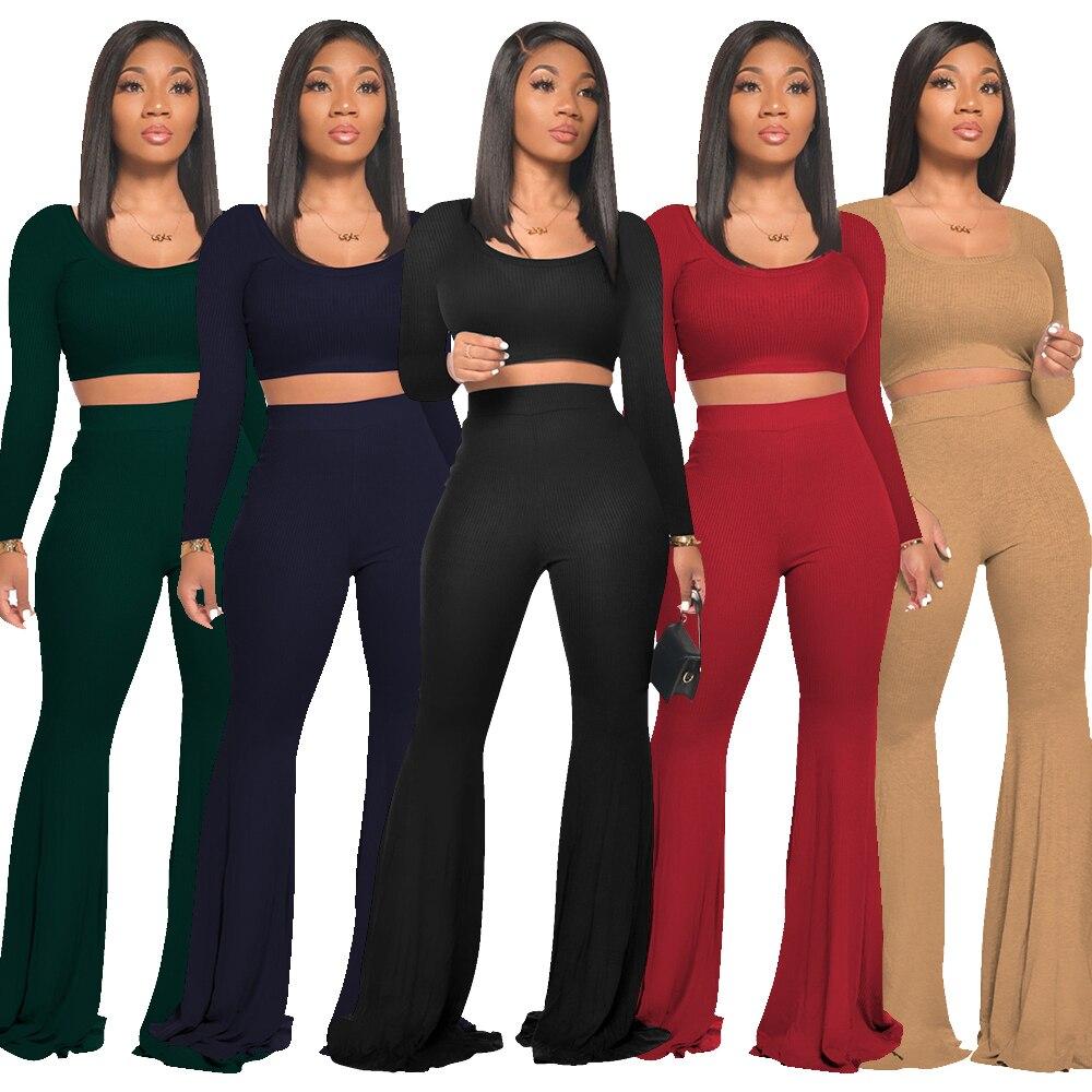 Женская одежда с бесплатной доставкой, короткий топ с длинным рукавом, прямые широкие брюки, комплект из двух предметов, осенняя одежда 2021, у...