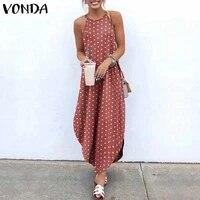 vonda 2021 stylish summer maxi dress womens print sundress asymmetrical halter dresses vestidos split beach dresses robe femme