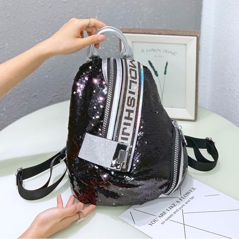 New Multifunction Backpack Women Sequines Rivet Bagpack Female Ita Shoulder Schoolbag for Girls 2021 Sac A Dos Mochila