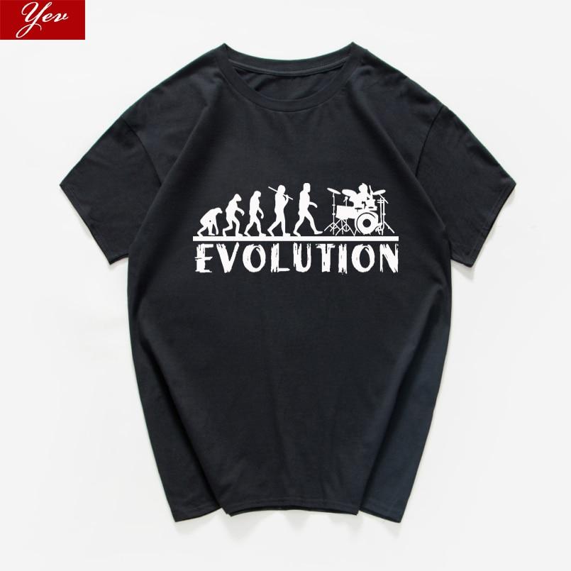¡Novedad! Divertida camiseta de hombre de algodón con música gráfica Vintage de tambores evolution, camiseta harajuku para hombre