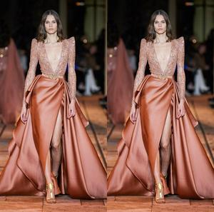 2020 Luxury Evening Dresses With Detachable Train V Neck Sequins Beaded High Side Split Prom Dress Sweep Train Sexy Formal Gowns