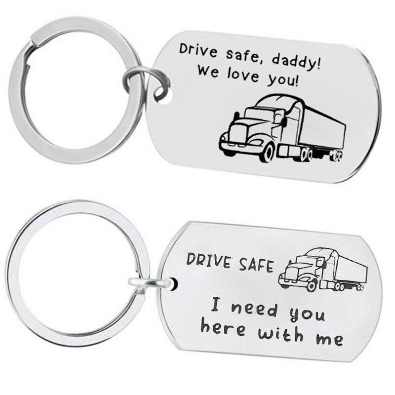 Personalizado moda chaveiro presentes gravado unidade segura, papai! Nós te amamos! Chaveiro de caminhão marido pai presentes jóias chaveiro