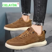 crlaydk suede mens casual flats skateboard walking sports sneakers outdoor driving shoes for male non slip leisure board tennis