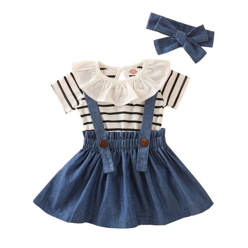 Toddler Newborn Baby Girl Clothing Dress Stripe Rompers Strap Skirt Overall Outfits Infant Clothes Set 3Pcs