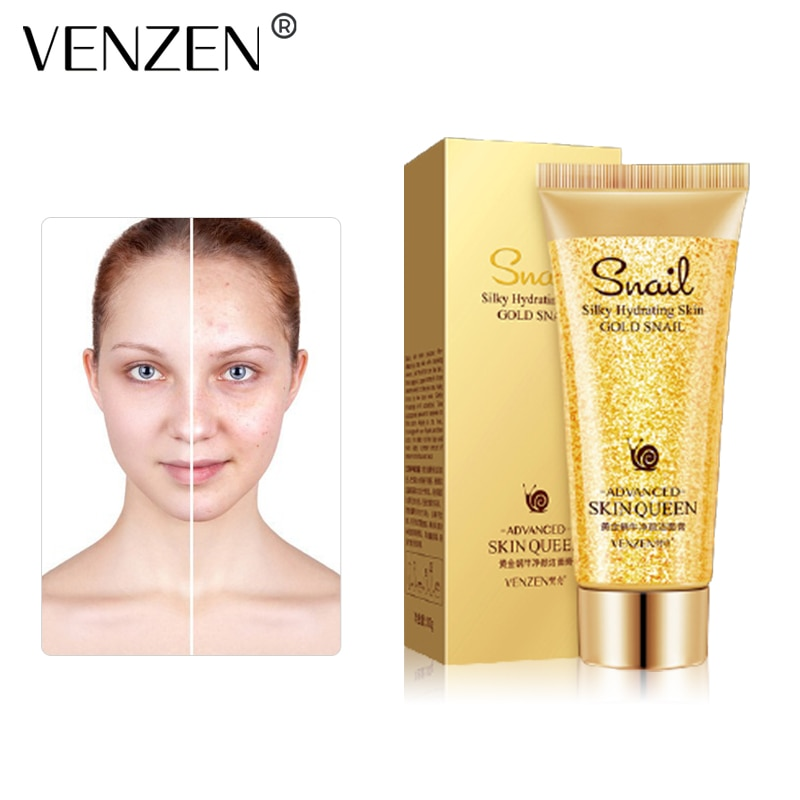 VENZEN Golden Snail Cleansing Facial Cleanser Shrink Pores Remove Acne Oil Control Nourishing Moisturizing Skin Care 100g