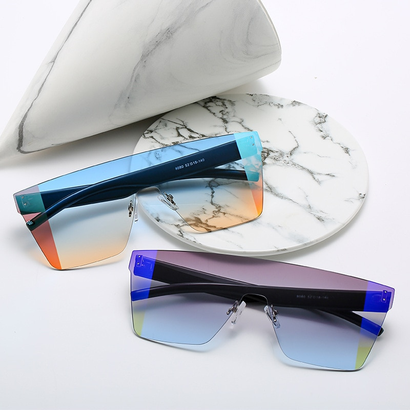 Oversized Square Sunglasses Women Luxury Brand Fashion Flat Top Black Clear Lens One Piece Men Gafas