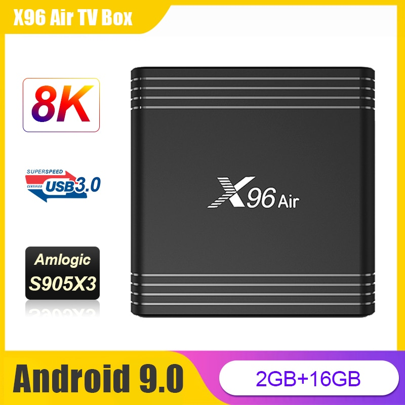 TV BOX X96 Air ، Android 9.0 ، Amlogic S905X3 ، رباعي النواة ، Full HD ، 1080P ، 2.4g wifi ، 2g ، 16g ، X96 Air ، 8K Media Player ، Android TV Set-Top Box