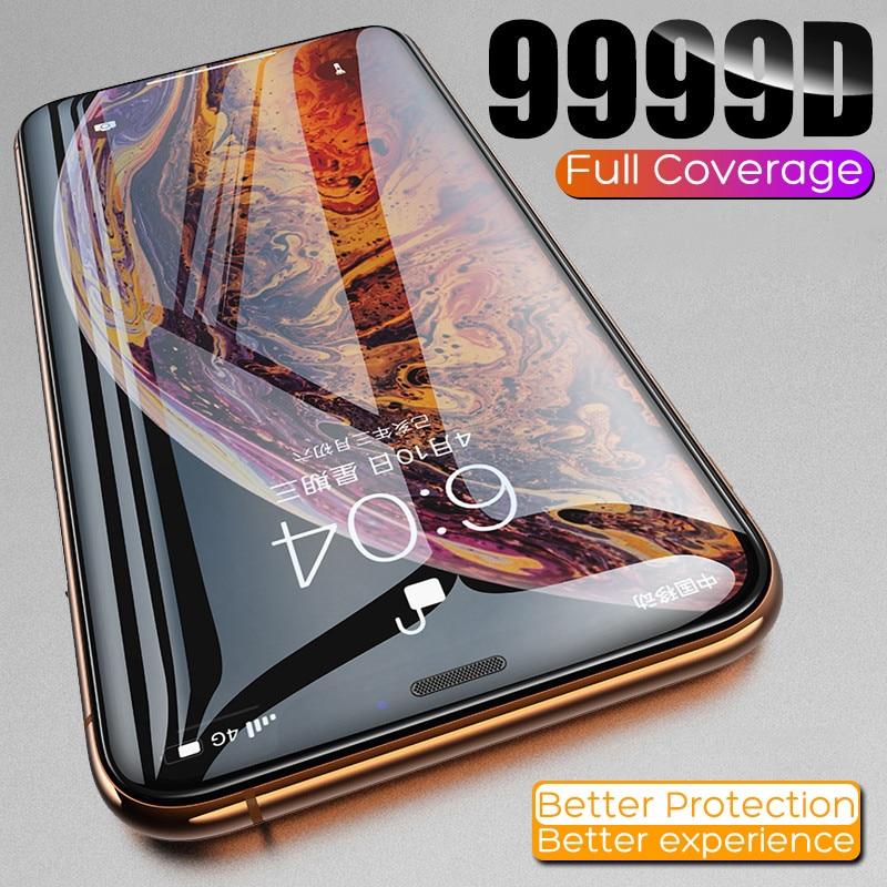 Protecteur d'écran pour iPhone, Film en verre trempé incurvé 9999D pour modèles 7, 6, 6S, 8 Plus, 11, 12 Pro, XS Max, X, XR, SE2