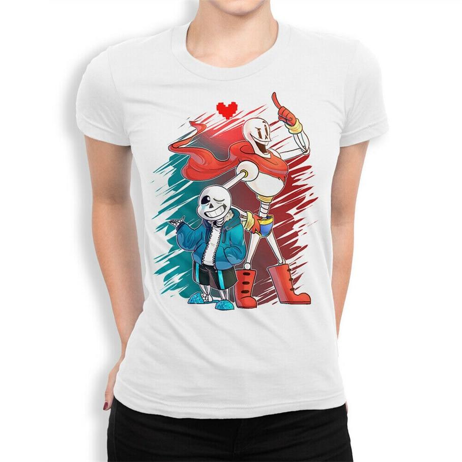 Camiseta de cuento de fondo Sans y Papyrus, Camiseta de algodón de alta calidad, camiseta redonda de estilo para mujer