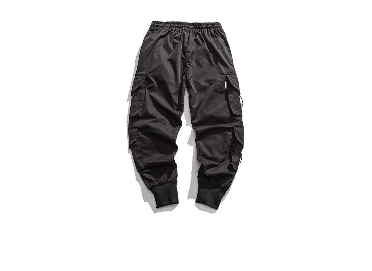Брюки, уличная одежда, мужские черные шаровары, мужские спортивные брюки с лентой, мужские повседневные брюки с несколькими карманами, Джог...