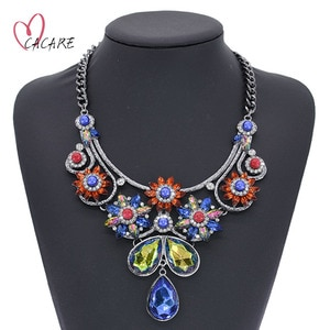 Long Big Pendent Large Necklace Colorful Maxi Women Fashion Female Jewelry Collares Statement Chain with Pendent F0114 CACARE