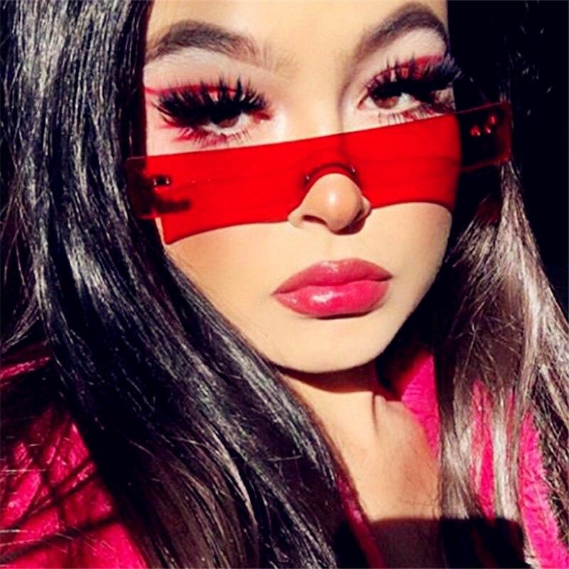 Trendy UV400 Square Candy Color Sunglasses Women Luxury Red Pink Designer Brand Light Small Lens Per