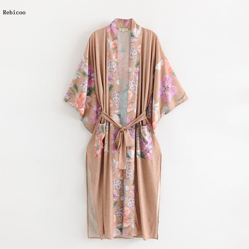 Mulheres boho floral impresso blusa longa solta xale quimono cardigan boho praia cobrir camisa outwear blusa mujer feminino