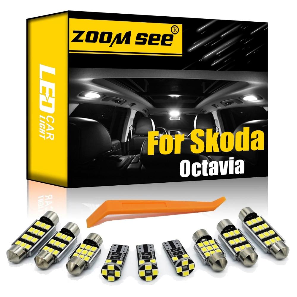 Perfect white Canbus LED lamp Interior dome map lights bulb kit for Skoda for Octavia 1 2 3 MK1 MK2 MK3 Sedan Combi (1996-2017)