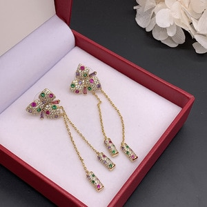 Mori series small fresh color zirconium butterfly flower earrings color diamond tassel long earrings INS net red celebrity tide