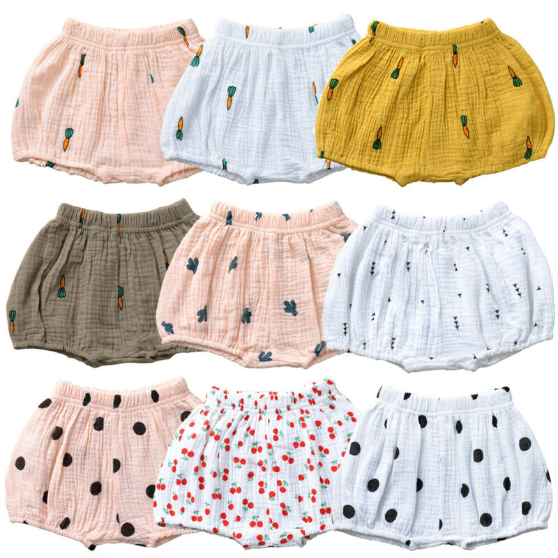 Pantalones cortos unisex de 0 a 3 años con estampado de rábano de algodón y lino para bebé