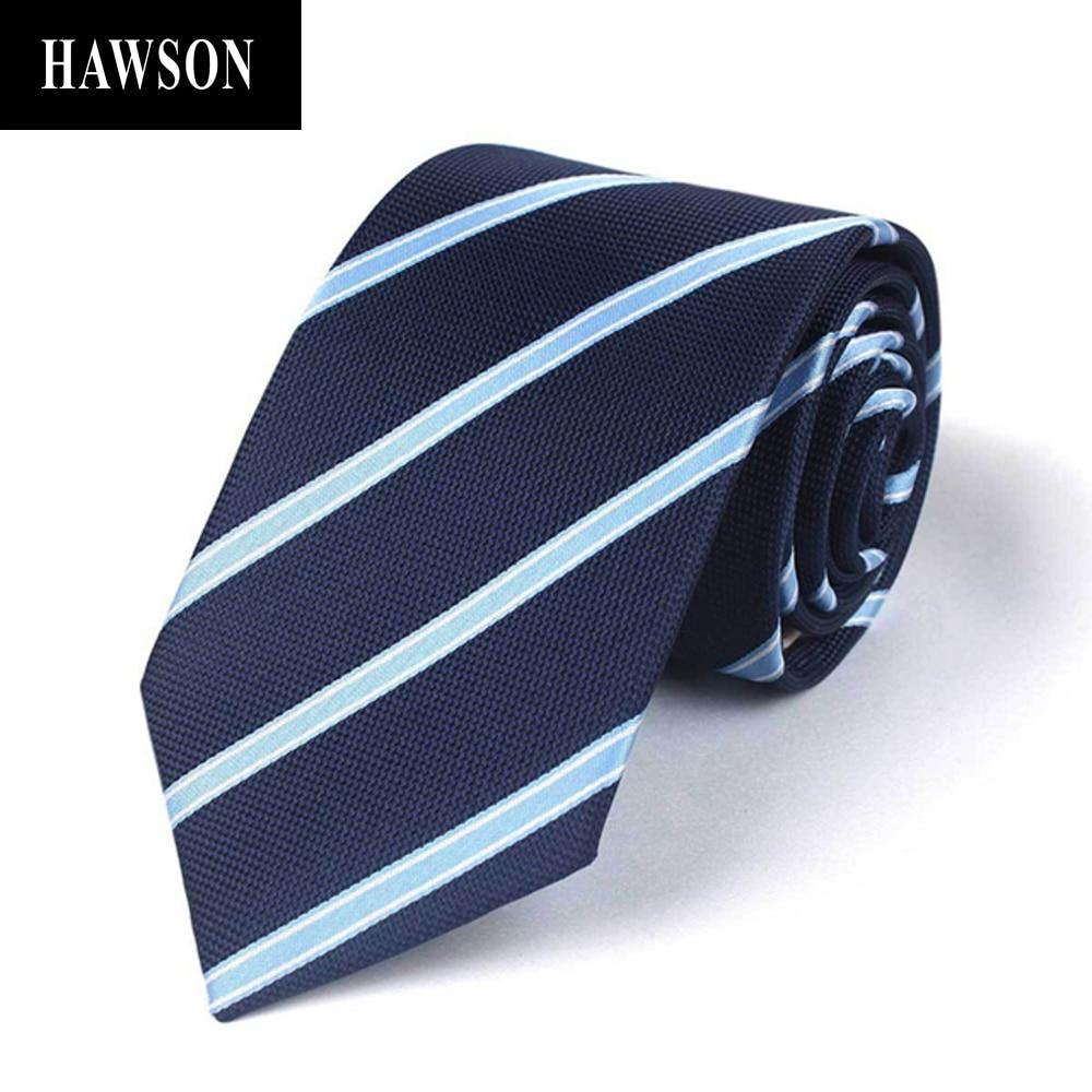 Темно-синие галстуки HAWSON для мужчин, синие полосатые галстуки для бизнесмена, официальные галстуки для мужчин, мужские аксессуары для рубаш...