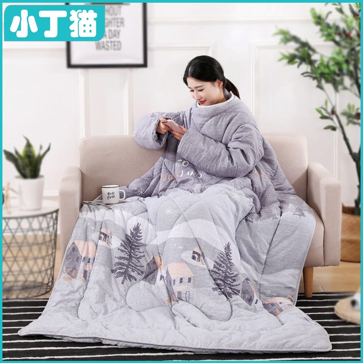 السرير كسول لحاف الشتاء كم بواسطة شخص واحد مشاهدة التلفزيون أريكة استرخاء انفصال غطاء لحاف الأطفال مكافحة الركل كم