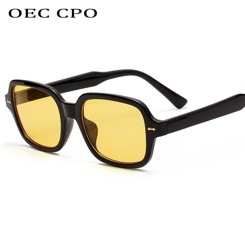 OEC CPO Fashion Unisex Square Sunglasses Men Women Fashion Small Frame Yellow Sunglasses Female Retr