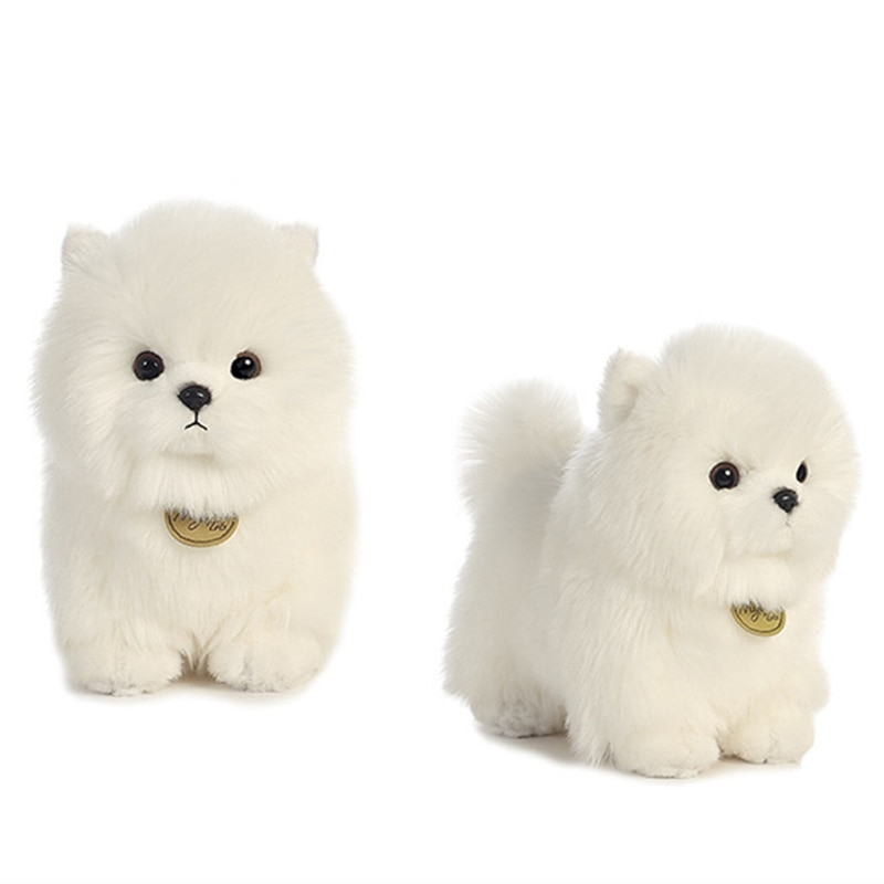 Pompón perro muñeca de felpa larga Pomerania Bichon Frise perros Caniches de peluche lindo simulación mascotas divertida muñeca
