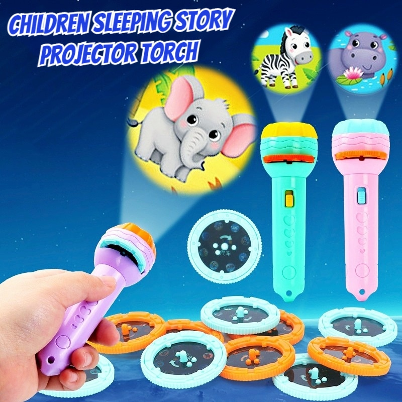 1set Projector Flashlight Kids Children Sleeping Story Projector Torch Lamp Cute Night Light Early Education Toy Birthday Gift