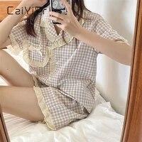 caiyier summer korea womens pajamas sweet girl plaid sleepwear short sleeve shorts retro ruffle nightwear kawaii japan homewear