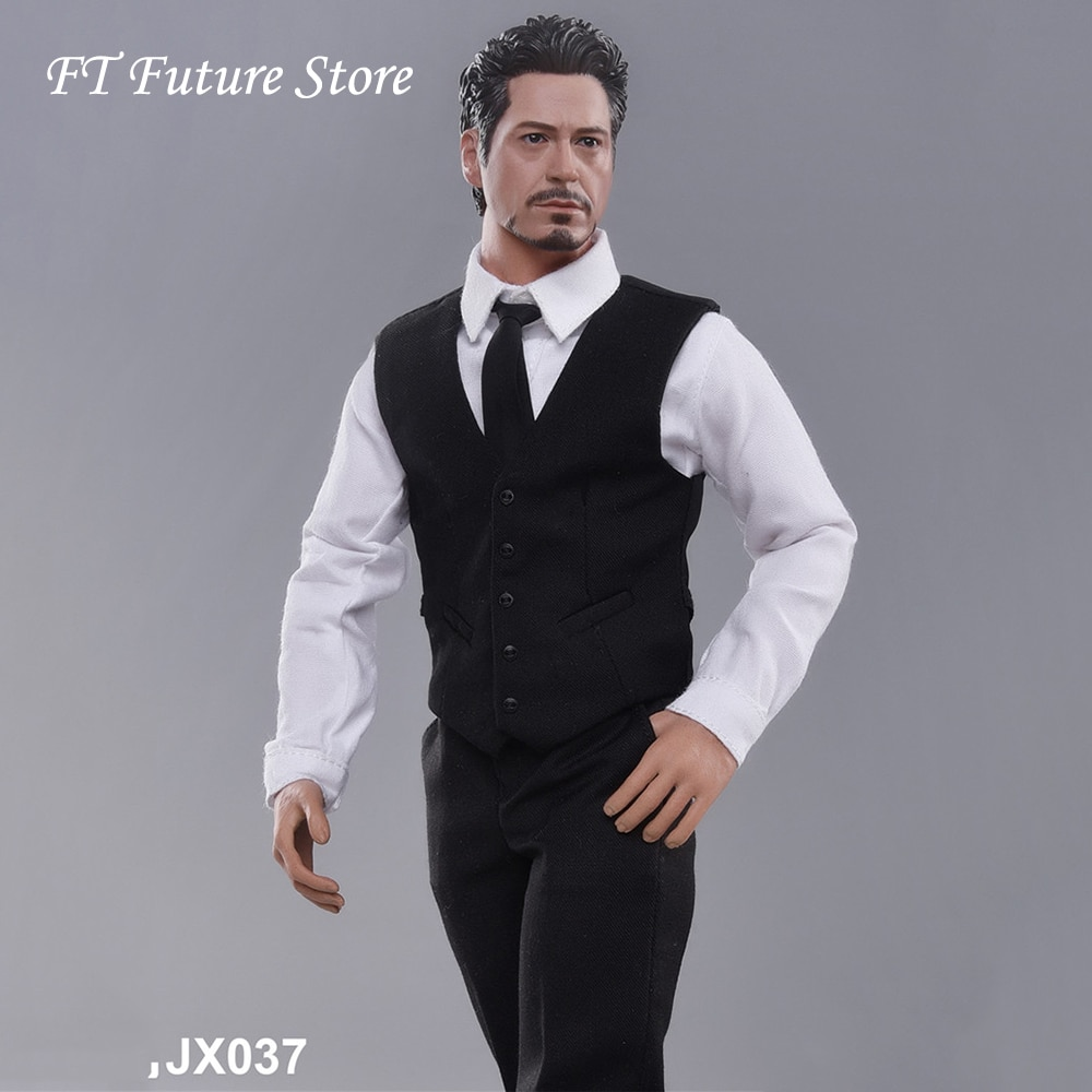 JXTOYS-037 1/6 Männliche Figur Zubehör Weste Anzug Iron Man Tony Kopf Carving Gentleman Kleidung Set Modell für 12 Action Figur