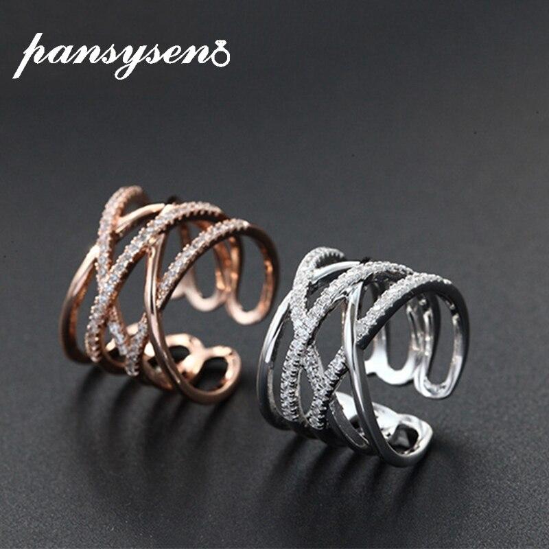 PANSYSEN Original Design argent 925 mariage fiançailles Zircon anneaux ouverts pour les femmes or Rose or blanc couleur Fine bijoux bague
