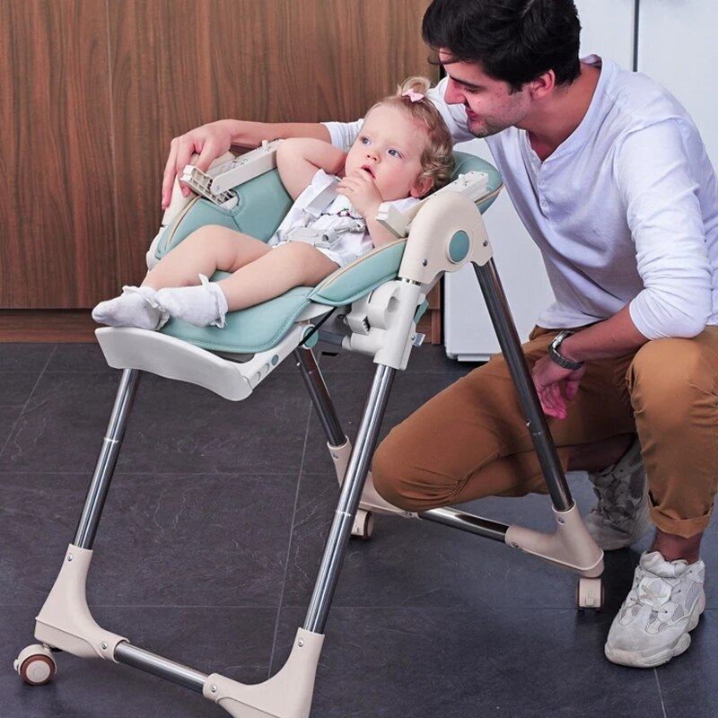 Muti-function Baby High Chair Foldable Dining Table Chair Kid Feeding Chair With Wheels Removable Children Dining Chair enlarge