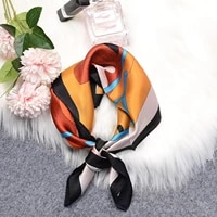 square silk scarf 2021 fashion silk satin print small head neck scarf women headscarf kerchief female bandana womens silk scarf