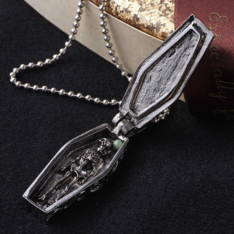 Gotik çapraz kolye titanyum çelik tabut kolye kadın erkek kafatası kolye İskelet Collier takı cadılar bayramı hediye