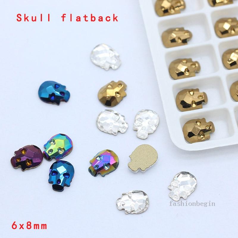 20p 6*8mm calavera hueso cristal uña holográfica Halloween Rhinestone abalorios con base plana gemas Irregular joyería 3D accesorios de uñas