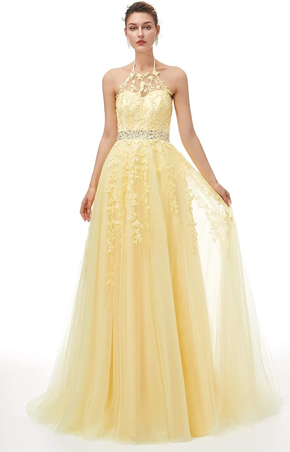 Sexy Halter Prom Dress Long Beaded Appliques Tulle Evening Dress Formal Party Gowns For Women Robe De Soiree Gown Abendkleider недорого