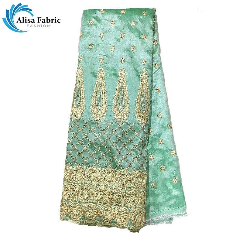 Alisa chegou nova tecido de renda de cetim nigeriano em fantástico 5 jardas/pçs tecidos de renda de seda africano com bordado para vestidos de baile