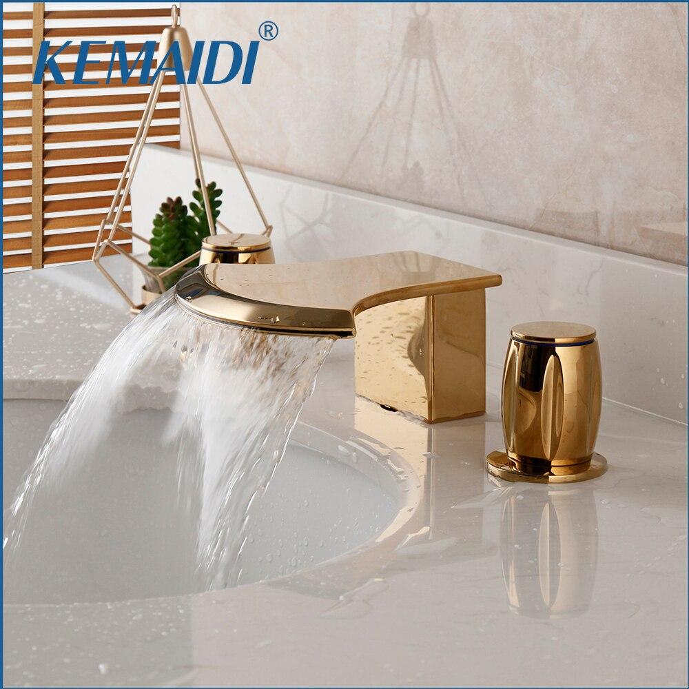 KEMAIDI جديد وصول حوض الاستحمام شلال خلاط etetswidespread الذهب إنهاء 3 قطعة حوض بالوعة صنبور الساخن Cold سطح السفينة