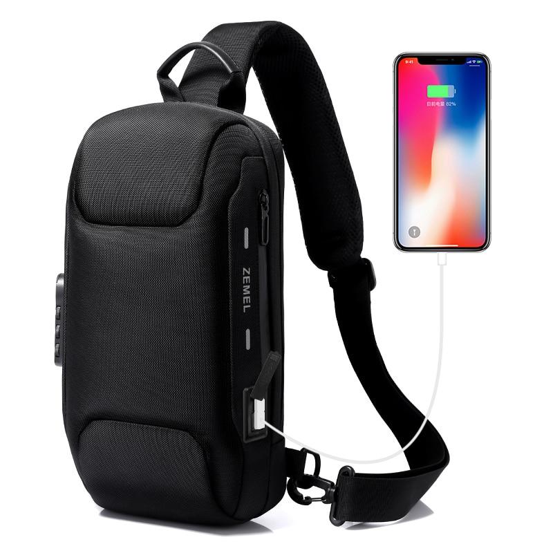 TANGCOOL-حقيبة صدر رجالية مقاومة للماء ، حقيبة كتف مقاومة للماء مع شحن USB ، حقيبة سفر قصيرة ، TC501