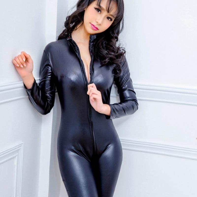 Sexy lingerie preto feminino falso couro catsuit elastano látex bodysuit zíper frontal aberto virilha estiramento bodystocking erótico