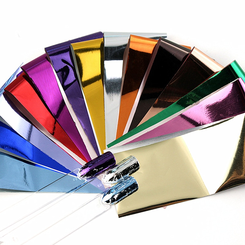 14pcs Charm Nail Foils Polish Stickers Metal Color Starry Paper Transfer Foil Wraps Adhesive Decals Nail Art Decorations недорого