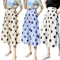 2021 new womens a line midi skirts elegant high waist polka dots print pleated long skirts
