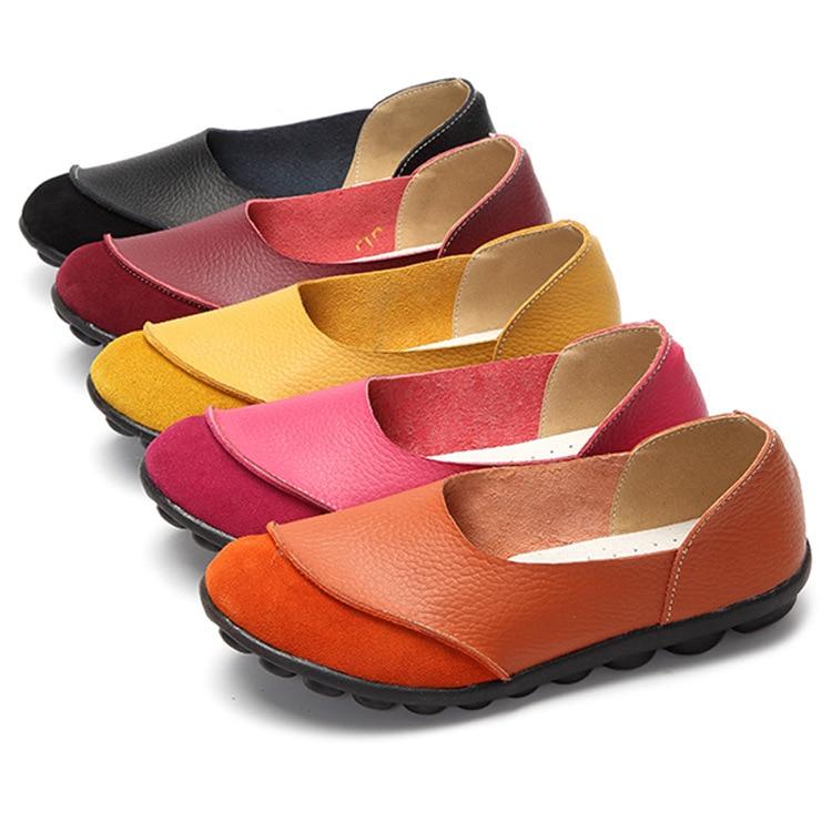 Otoño 2020 nuevos zapatos casuales de piel de vaca de Color recubierto de cuero zapatos de boca poco profunda zapatos de mujer de tacón plano de cuero suave zapatos de mujer