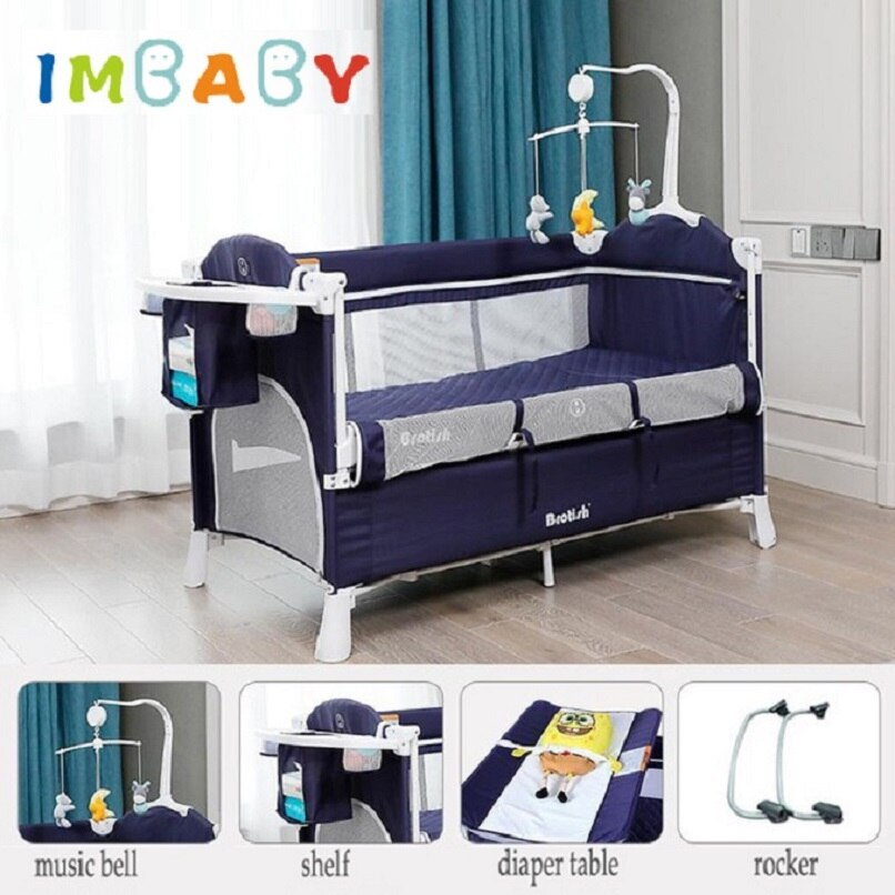 IMBABY New Brotish Baby Crib Splicing Large Bed Removable Multifunctional Portable Folding Newborn Baby Game Bed Cradle Bed Nest